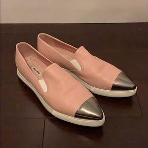 Miu Miu Light Pink Leather Slip Ons